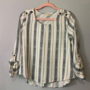 Sweet wanderer striped flowy top with button detail down the back